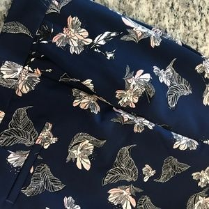 Navy Cynthia Rowley Ankle Pants with Pink Flowers